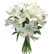 Snow-white bouquet of lilies - flowers and bouquets on 7roz.lviv.ua