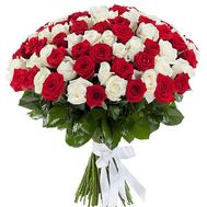 Bouquet of 101 red and white roses - flowers and bouquets on 7roz.lviv.ua
