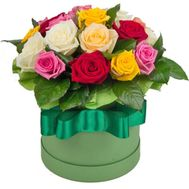 15 different colored roses in a box - flowers and bouquets on 7roz.lviv.ua