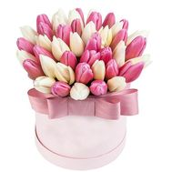 Gentle box with tulips - flowers and bouquets on 7roz.lviv.ua
