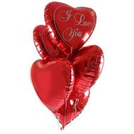 Ball-hearts from foil for your beloved - flowers and bouquets on 7roz.lviv.ua