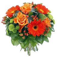 Bouquet of flowers from 3 roses, 3 gerberas and 3 chrysanthemums - flowers and bouquets on 7roz.lviv.ua