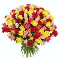 Bouquet of flowers from 101 multi-colored roses - flowers and bouquets on 7roz.lviv.ua