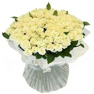 Bouquet of flowers from 101 white roses - flowers and bouquets on 7roz.lviv.ua