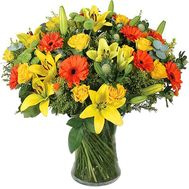Bouquet of flowers from 5 lilies, 11 gerberas, 15 roses and 4 chrysanthemums - flowers and bouquets on 7roz.lviv.ua