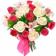 Bouquet of flowers from 17 roses and 4 orchids - flowers and bouquets on 7roz.lviv.ua