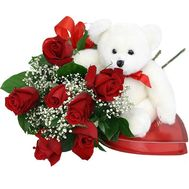Bouquet of 7 red roses with a soft toy Bear - flowers and bouquets on 7roz.lviv.ua