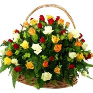 Basket of 51 different colored roses - flowers and bouquets on 7roz.lviv.ua
