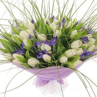 Bouquet of 41 tulips and 18 irises - flowers and bouquets on 7roz.lviv.ua