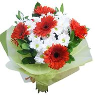 Bouquet of 5 gerberas and 4 chrysanthemums - flowers and bouquets on 7roz.lviv.ua