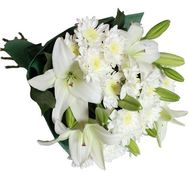 Bouquet of 2 lilies and 5 chrysanthemums - flowers and bouquets on 7roz.lviv.ua