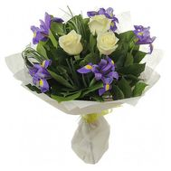 Bouquet of flowers from 3 roses and 8 irises - flowers and bouquets on 7roz.lviv.ua
