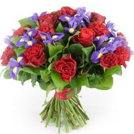 Bouquet of 15 roses and 10 irises - flowers and bouquets on 7roz.lviv.ua