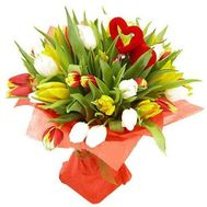 Bouquet of 31 multi-colored tulips - flowers and bouquets on 7roz.lviv.ua