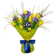 Bouquet of 13 tulips and 8 irises - flowers and bouquets on 7roz.lviv.ua