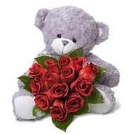 13 red roses + teddy bear - flowers and bouquets on 7roz.lviv.ua