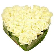 Heart of 27 white roses - flowers and bouquets on 7roz.lviv.ua