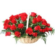 Basket of 35 red roses with verdure - flowers and bouquets on 7roz.lviv.ua