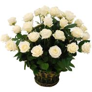 Basket of 29 white roses - flowers and bouquets on 7roz.lviv.ua