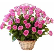 Large basket of 75 pink roses - flowers and bouquets on 7roz.lviv.ua