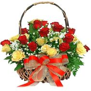 Basket of 29 multi-colored roses - flowers and bouquets on 7roz.lviv.ua