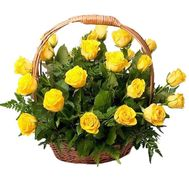 Basket of 27 yellow roses with verdure - flowers and bouquets on 7roz.lviv.ua