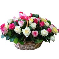 Basket of 35 multi-colored roses - flowers and bouquets on 7roz.lviv.ua