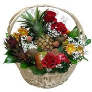 Fruit basket with flowers - flowers and bouquets on 7roz.lviv.ua