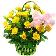 Basket of 23 yellow roses - flowers and bouquets on 7roz.lviv.ua