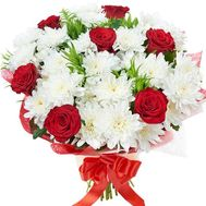 Bouquet of 7 roses and 6 chrysanthemums - flowers and bouquets on 7roz.lviv.ua