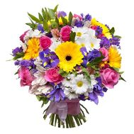 Bouquet of 11 roses, 5 gerberas, 10 irises, 8 chrysanthemums, 9 alstromeries - flowers and bouquets on 7roz.lviv.ua