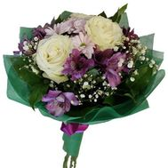 Bouquet of 3 roses, 3 alstroemaria and 1 chrysanthemum - flowers and bouquets on 7roz.lviv.ua