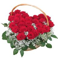 Heart of 27 red roses with gypsophila - flowers and bouquets on 7roz.lviv.ua
