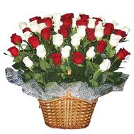 Basket of 45 import roses - flowers and bouquets on 7roz.lviv.ua