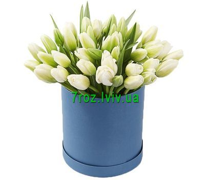 """""""45 white tulips in a box"""" in the online flower shop 7roz.lviv.ua"""