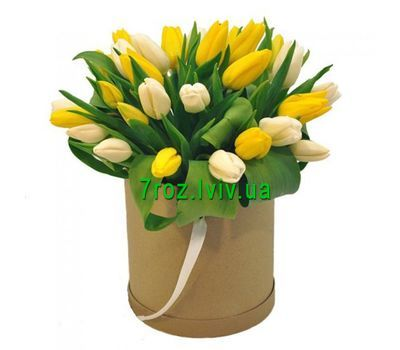 """""""A box of tulips"""" in the online flower shop 7roz.lviv.ua"""