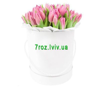 """25 pink tulips in a box"" in the online flower shop 7roz.lviv.ua"