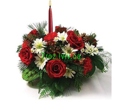 """""""New Year''s composition with candles"""" in the online flower shop 7roz.lviv.ua"""
