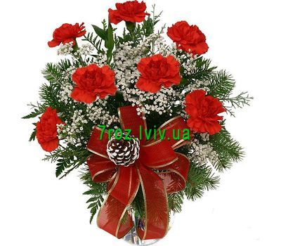 """New Year''s bouquet of carnations and spruce"" in the online flower shop 7roz.lviv.ua"