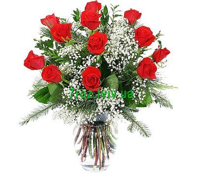 """""""Winter bouquet of flowers from roses"""" in the online flower shop 7roz.lviv.ua"""